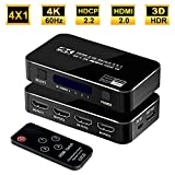 FERRISA 4K 60Hz 4x1 HDMI Switch, 4 Port Auto HDMI Switch Box with IR Remote,Support HDCP 2.2 4Kx2K 3D 1080P,4 in 1 Out HDMI Switch Switcher Selector for Xbox360/PS4/PS3/Roku/to TV Projector