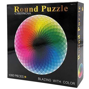 CYBERNOVA Rompecabezas Redondo de 1000 Piezas Juego Intelectual de Paleta de Arco Iris para Adultos