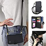 Gear Beast Crossbody Cell Phone Case Compatible with iPhone 11 Pro, Dual Folio Slim Flip Folio Wallet Case with Seven Card Slots Including Transparent ID Holder and Adjustable 48 to 54 Inch Strap