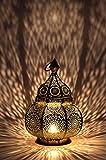 Petite Lanterne marocaine en métal Lamis 30cm doré | Photophore marocain pour...