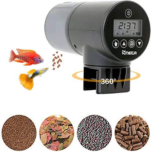 Sneta Futterautomat Aquarium, Automatisierte Futterspender 200ml Große Kapazität Mit USB-Ladekabel Und LCD Display Geeignet Für Aquarium, Fischtank Und Schildkrötentank