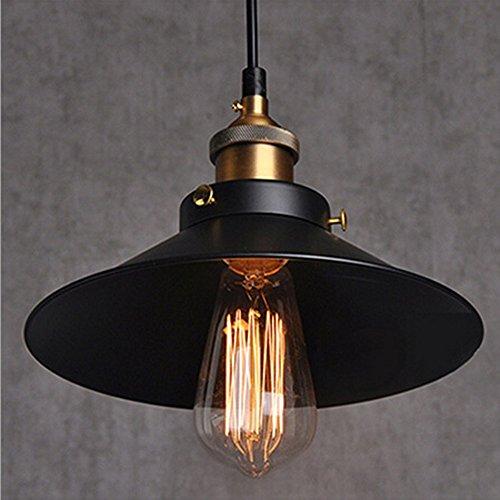 Retro Pendant Light Shade Vintage Industrial Ceiling Lighting LED Restaurant Loft Black Lamp Shade Kitchen Coffee-Shop Chandelier E27 Base