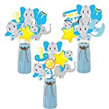 TICIAGA 30pcs Blue Baby Elephant It is A Boy Baby Shower Centerpiece Cards and Sticks Table Toppers, Dumbo Elephant Double Sided Party Photo Booth Props for Table, Birthday Party Cake Topper Set