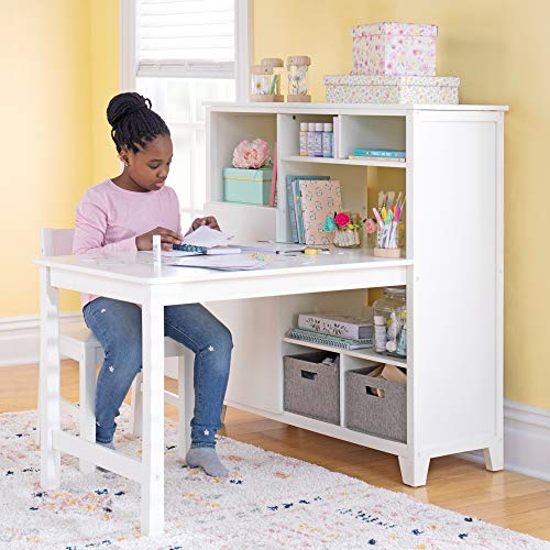 Martha Stewart Living and Learning Kids' Media System with Desk Extension and Chair (White) – Wooden Cubby Storage Organizer and Computer Study Table for Home School