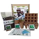 Kultiveri Set de culture de plantes aromatiques, avec pots et semis biodégradables...