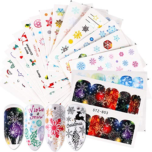 30 Sheets Winter Santa Claus Nail Stickers Christmas Xmas Snowflake Nail Decals Tree Deer Bell Snowman Nail Art Supplies Water Transfer Decals Manicure Tips Nails Decoration
