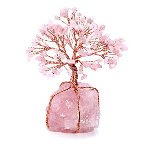 Top Plaza Rose Quartz Healing Crystals Copper Money Tree...