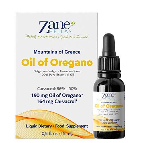 Zane Hellas 100% Aceite de orégano sin diluir.Aceite esencial de orégano griego puro.86% Min Carvacrol.164 mg de Carvacrol por porción.Probablemente el mejor aceite de orégano del mundo.15 ml