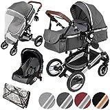 ib style SOLE 3en 1 poussette combiné | incl. siège auto/nacelle bébé|incl. moustiquaire/habillage pluie | 0-15kg | 4 couleurs | GRIS