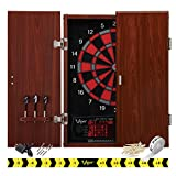 Viper by GLD Products Neptune Electronic Dartboard Cabinet Combo Pro Size Over 55 Games Large Auto-Scoring LCD Cricket Display Extended Dart Catch Area 16 Player Multiplayer with Soft Tip Darts and Power Adapter , 21.5' L x 26.5' W x 3.5' H