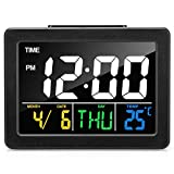 meross Digital Alarm Clock for Bedrooms, Powered by USB Cable, Snooze Function, LED Display Desk Clock, Timer, LED Sound Control, Time Temperature, 8 Alarm Settings
