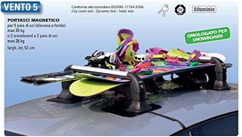 GEV A8940 VENTO 5 Set di 2, per 5 Paia di Sci (Max 35 Kg) Oppure 2 Snowboard e 2 Paia di Sci (Max...