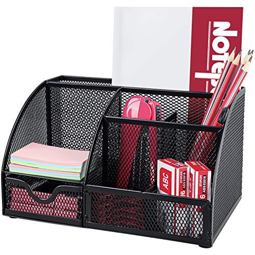 Portaoggetti da scrivania Pipishell,da scrivania con cassetto e 6 scomparti di ordinamento per penne, cucitrici, clip per cartelle, foglietti adesivi, organizer da scrivania salvaspazio