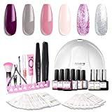 Modelones Gel Nail Polish Kit with UV Light - 4 Elegant Colors and 2 Glitter Gel, Matte Top Coat, Base Top Coat, 24W Nail Lamp, Upgraded Manicure Tools in Storage Bag