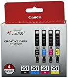 Canon CLI-251 BK/CMY 4PK (4-Color Pack), Black,Cyan, Magenta, Yellow, Compatible to MX922, iP8720, iX6820,MG7520,MG6620,MG5620,MG7120,MG6420,MG5520 and MG6320