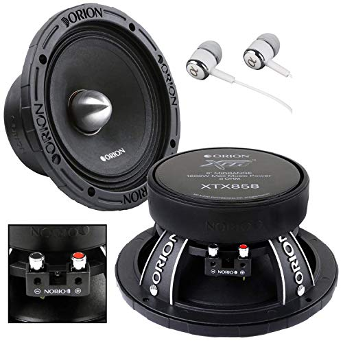 Orion XTX858 8' 1600 Watts High Efficiency Midrange Mid Range Bass Loud 8 Ohm Car Audio Speakers Pair with Free Alphasonik Earbuds Included