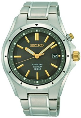 Seiko Men's Year-Round Titanium Kinetic Watch with Stainless Steel Strap, Silver, 19 (Model: SKA765P1)