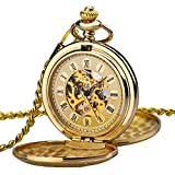 Reloj de Bolsillo Zeiger Reloj Steampunk Reloj Hombre mecanica Doble Retro Reloj...