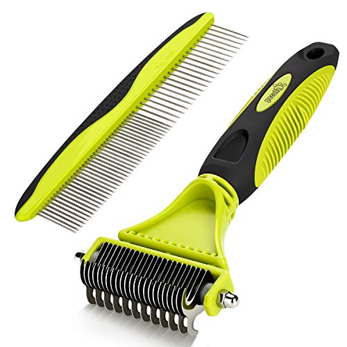 Pecute Dematting Comb Grooming Tool Kit for Dog & Cat Double Sided Blade Rake Comb with Grooming Brush