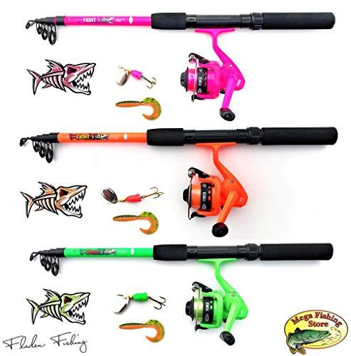 Fladen - Set da pesca per bambini, telescopico, con spinner e twister, colore: verde/arancione/rosa, Colore: arancione., 1,65m