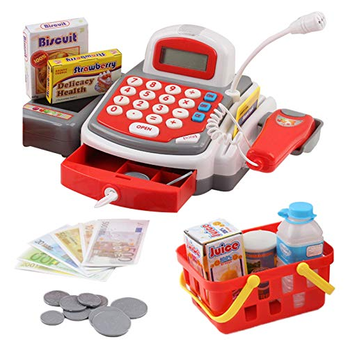 Vokodo Toy Cash Register with Microphone Calculator Grocery Items Shopping Basket Scanner and Pretend Play Money Kids Supermarket Cashier Bank for Preschool Children Boys Girls Toddlers