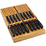 In-Drawer Bamboo Knife Block Holds 16 Knives (Not Included) Without Pointing Up PLUS a Slot for your Knife Sharpener