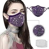 LIEIKIC Damen Halloween Maske, Mundschutz Halstuch Glitzer Waschbar Wiederverwendbar Atmungsaktive Multifunktionstuch für Abend Party (B)