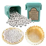 PLANTIONAL Pie Weights For Baking: 1.32 LB 10mm Baking Ceramic Beans Pie Crust Weights With Wheat Straw Container For Blind Baking Pastry(Green)