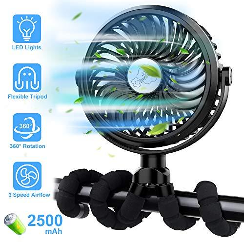 FITA Mini USB Ventilator Leise Lüfter, Clip Fan Tischventilator Handventilator Klein | 360° Drehung, 3 Geschwindigkeitsstufen, LED-Beleuchtung, 2500mAh | für Kinderwagen Zuhause Büro Auto Camping BBQ