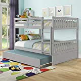 Full Over Full Bunk Bed with Trundle, Convertible to 2 Full Size Platform Bed, Full Size Bunk Bed with Ladder and Safety Rails for Kids, Teens, Adults, Grey