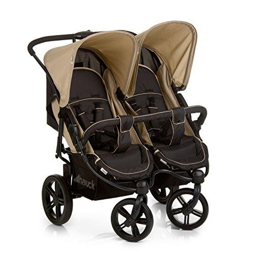 Hauck Roadster Duo SLX Geschwister - / Zwillings - kinderwagen, für Babys und Kleinkinder, nebeneinander, ab Geburt nutzbar (mit Tragetasche), schmal, schnell faltbar, Beige