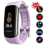 Fitness Trackers with Temperature Measurement, Activity Trackers Exercise Watch with Heart Rate Blood Pressure and Sleep Monitor, Smart Calorie Counter, Step Counter, Compatible Android/iOS, Purple