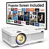QKK Mini Projector 5500 Portable LCD Projector [100' Projector Screen Included] Full HD 1080P Supported, Compatible with Smartphone, TV Stick, Games, HDMI, AV, Projector for Outdoor Movies