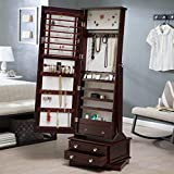 Home Collection Traditional Freestanding Rich Cherry Brown Wood Jewelry Armoire Tall Cabinet Storage Jewelry Box with Cheval Mirror and Swivel