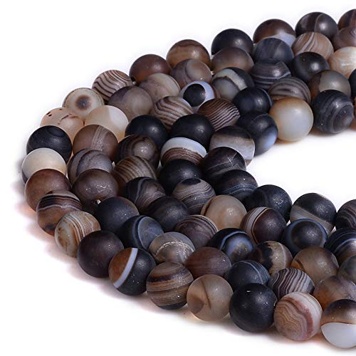 PLTbeads Gorgeous Brown Stripe Agate Natural Gemstone Loose...