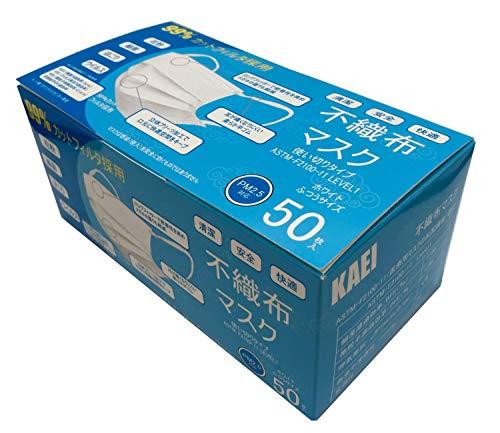 【全国マスク工業会正会員】KAEI 3層 立体プリーツマスク 普通サイズ(17.5×9.5cm)50枚入