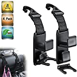 Heroway Magic Headrest Hooks for Car, Purse Hanger Headrest Hook Holder for Car Seat Organizer Behind Over The Seat Car Hooks-Hang Purse or Grocery Bags,Black,4Pack