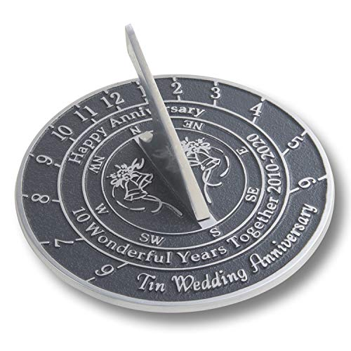 The Metal Foundry 10th Tin 2020 Wedding Anniversary Sundial Gift. Solid Recycled Metal Gift Idea Is A Great Present For Him, Her, Parents, Grandparents Or Couple On 10 Years Of Marriage (Kitchen & Home)