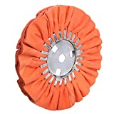 8' Orange Airway Buffing Wheel,5/8'' Arbor Hole,16 Plys/Medium Polishing for Angle Grinder,1PC