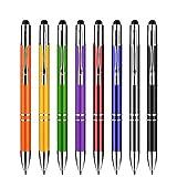 Zoonnis Stylet,2 en 1 Stylets Tactile Capacitifs Universels pour les écrans tactiles appareils,haute sensibilité Fit Apple iPad comprimés iPhone Kindle Samsung Galaxy,stylos à bille(8 X couleur mixte)
