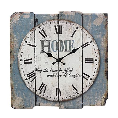 Stonebriar SB-6158A Worn Blue 15' Square White Wall Clock