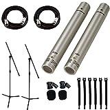 Samson C02 Pencil Condenser Microphones + 2 Mic Stands + 2 Mic Cables + Strapeez - Top Value Bundle