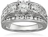 La4ve Diamonds 2.0 Carat Diamond, Channel and Prong Set 10kt White Gold 3-Stone Miracle Diamond Wedding Ring Set (I-J, I2-I3) Size 7 | Real Diamond Rings for Women | Gift Box Included