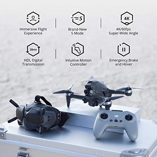 Product Image 3: DJI FPV Combo - First-Person View Drone UAV Quadcopter with 4K Camera, S Flight Mode, Super-Wide 150° FOV, HD Low-Latency Transmission, Emergency Brake and Hover, Gray