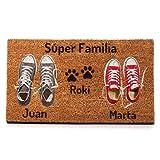 NANNUK Paillasson personnalisé en fibre de coco Couple + Dog