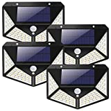 Solar Lights Outdoor - BS ONE 2200mAh Large Capacity Battery 100 LED Solar Wall Lights IP65...