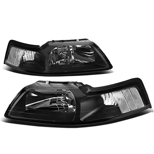 DNA Motoring Black clear HL-OH-FM99-BK-CL1 Headlight Assembly (Driver & Passenger Side),Black Housing / Clear Corner