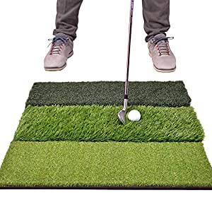 "HUGE SIZE: 24""x24"" Tri-Turf golf hitting artificial grass mat for mastering your swing - Compatible with real tees and engineered to last thousands of practice swings to serve as your personal driving range and a great addition to any golf net PRACTI..."