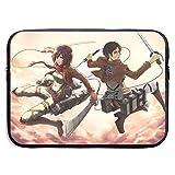 Anime Attack on Titan - Funda protectora universal para portátil de 13 a 15 pulgadas, impermeable, con cremallera, dos opciones de tamaño