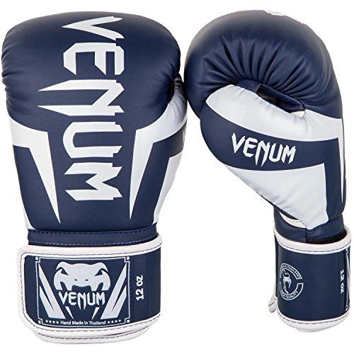 VENUM Elite Guantes de Boxeo, Unisex Adulto, Blanco/Azul Marino, 16 oz